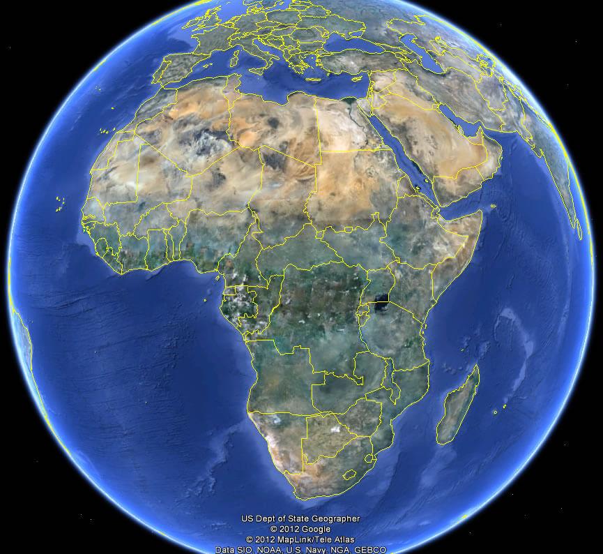 Africa Map - Setlight map of world