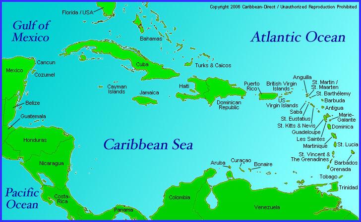 Caribbean Sea Antigua And Barbuda Map