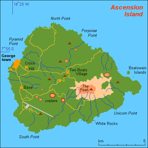Ascension Island Google Map - Ascension island google map
