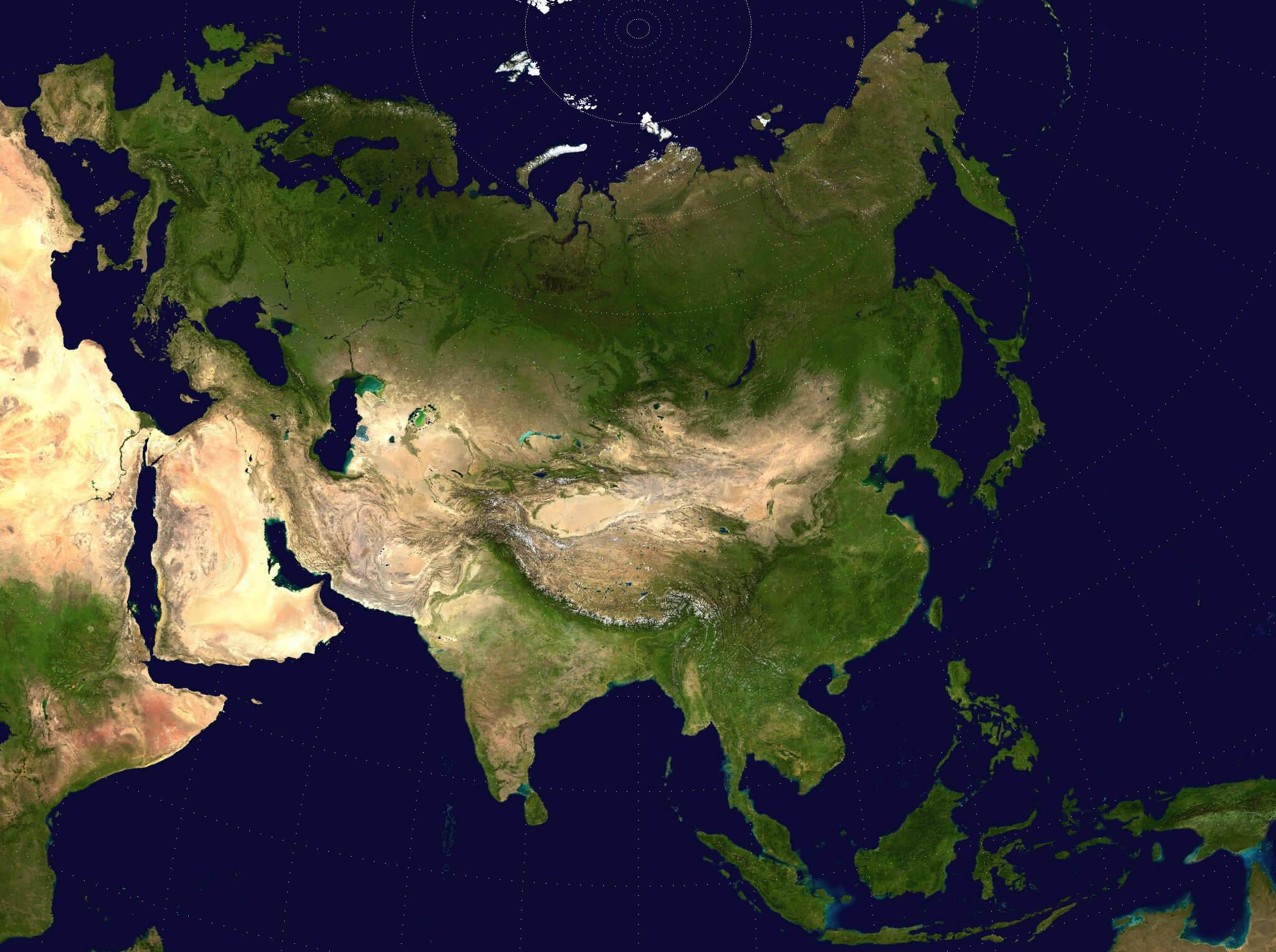 Asiasatellitemapjpg - Satellite Map Of Southeast Us