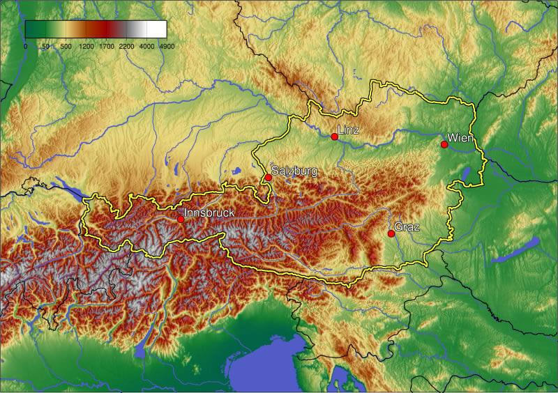 Austria Physical Map - Physical map of austria