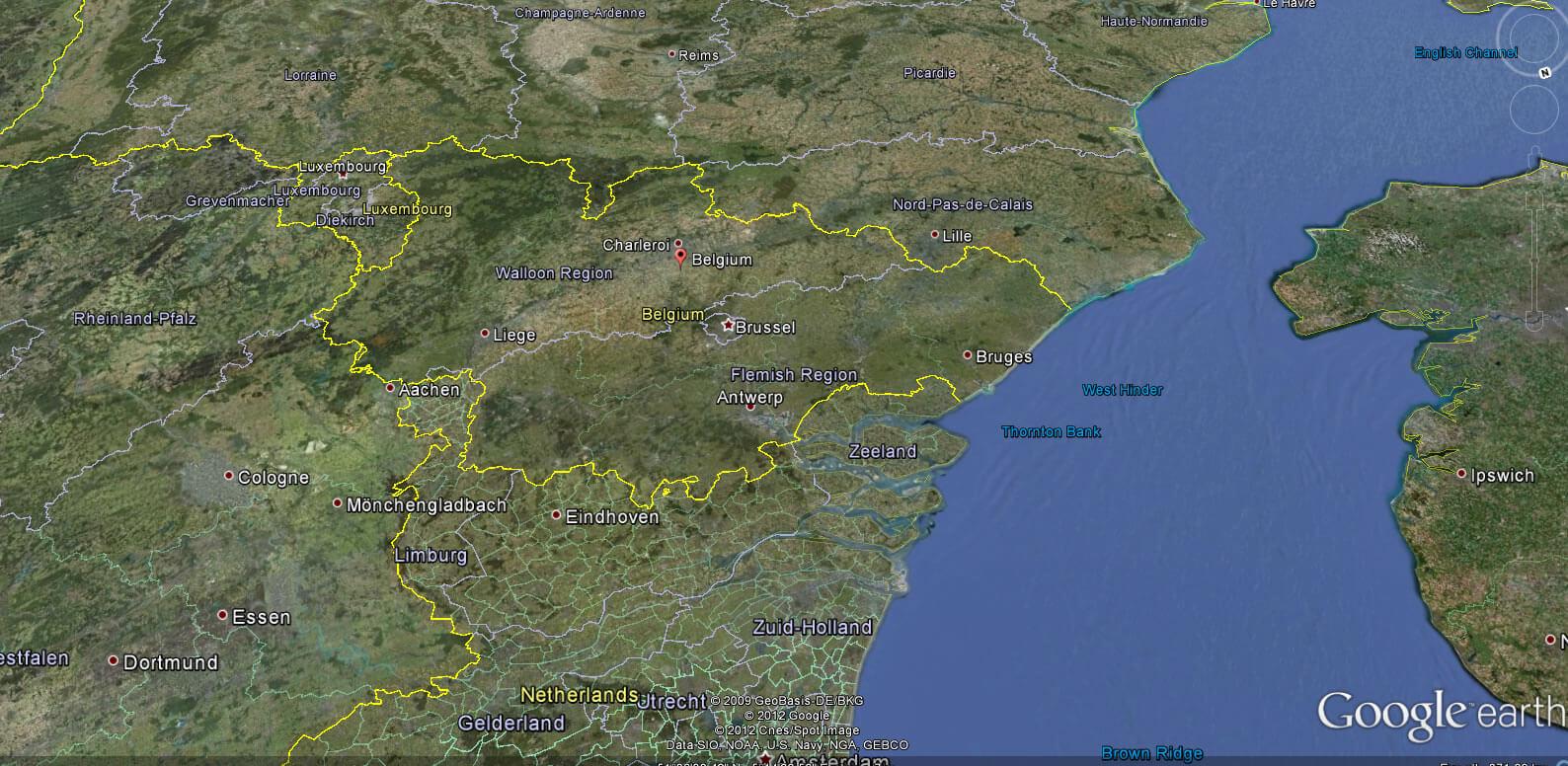 belgium earth map