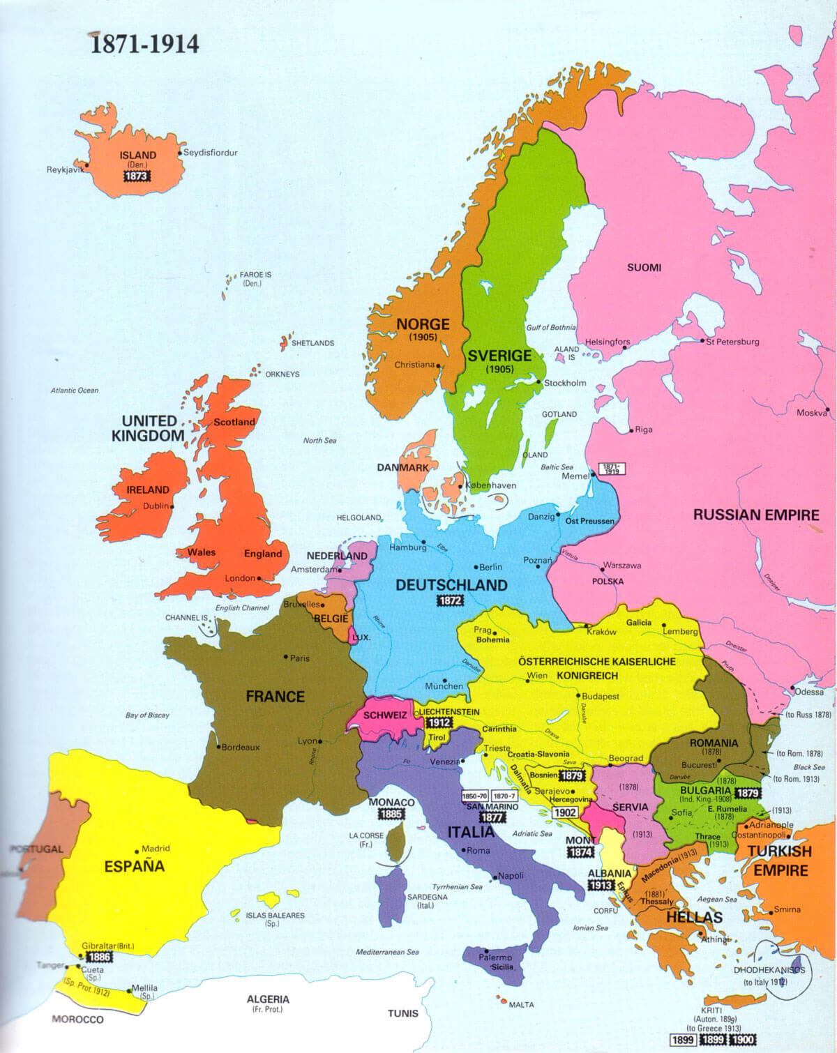 Map - Europe map 1871 1914