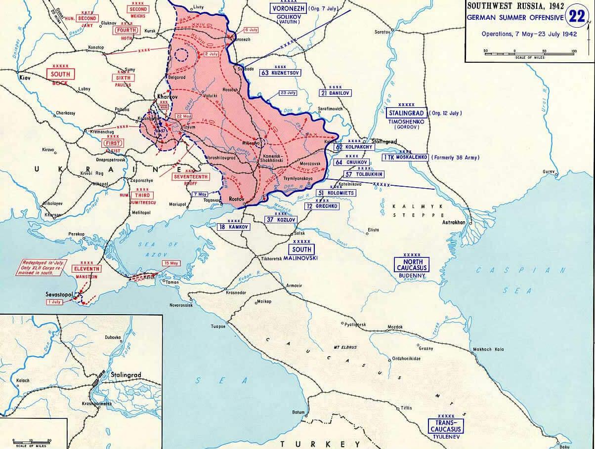 Europe Map World War2 Stalingrad 1942