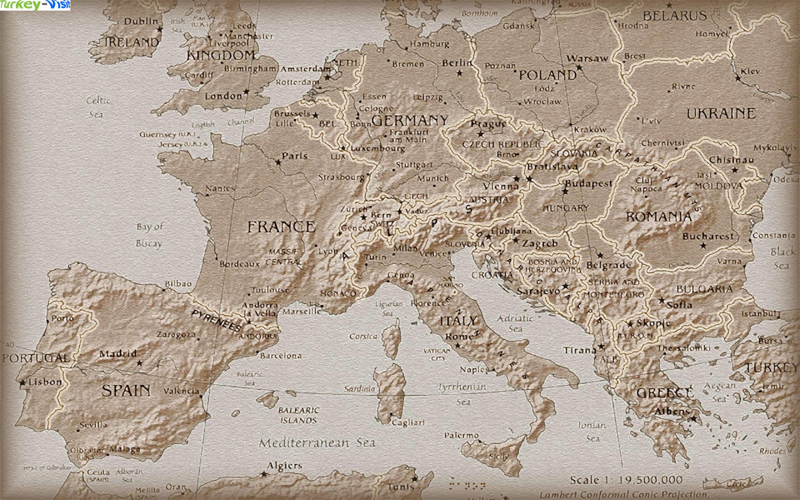 Terrain Map - Europe terrain map