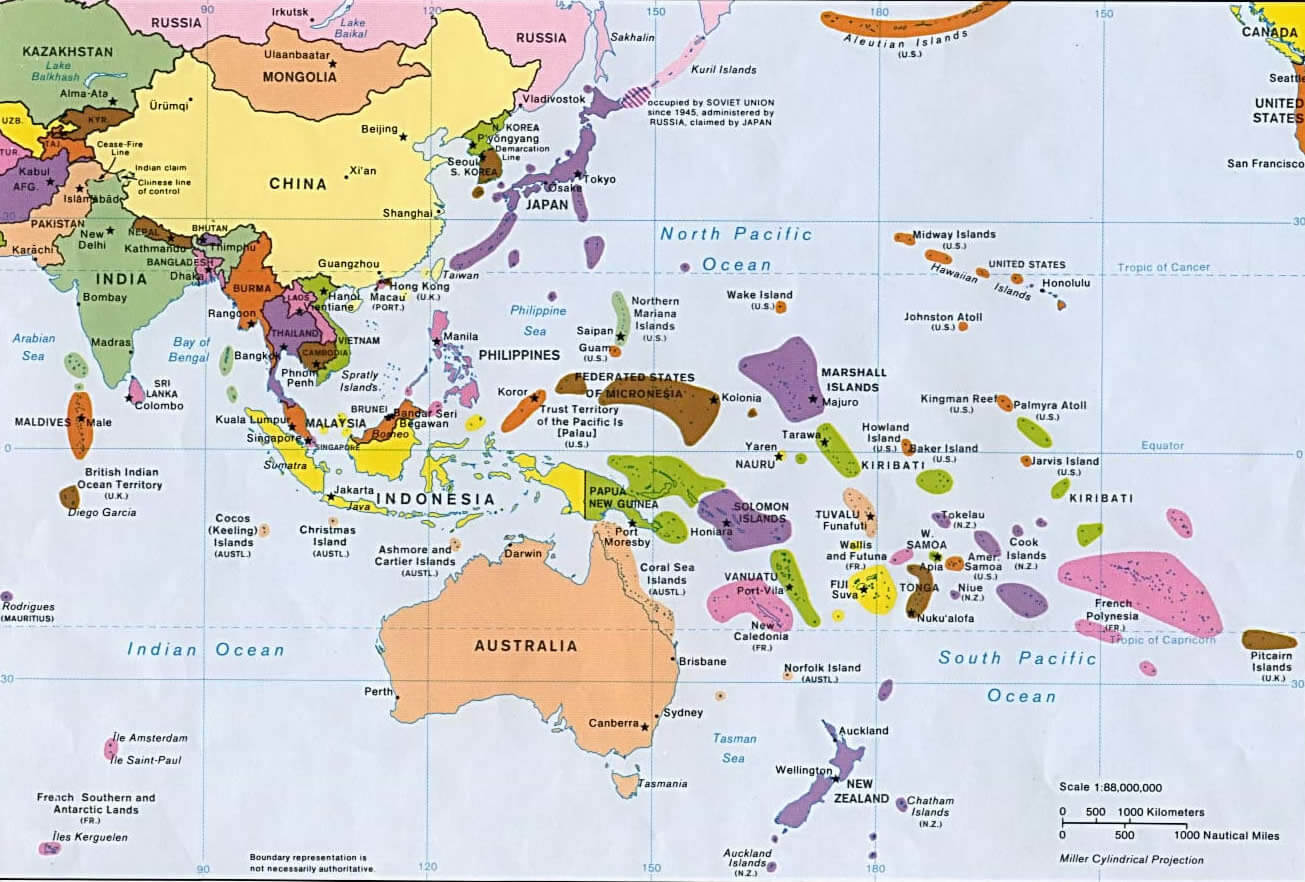 Oceania Time Zones Map