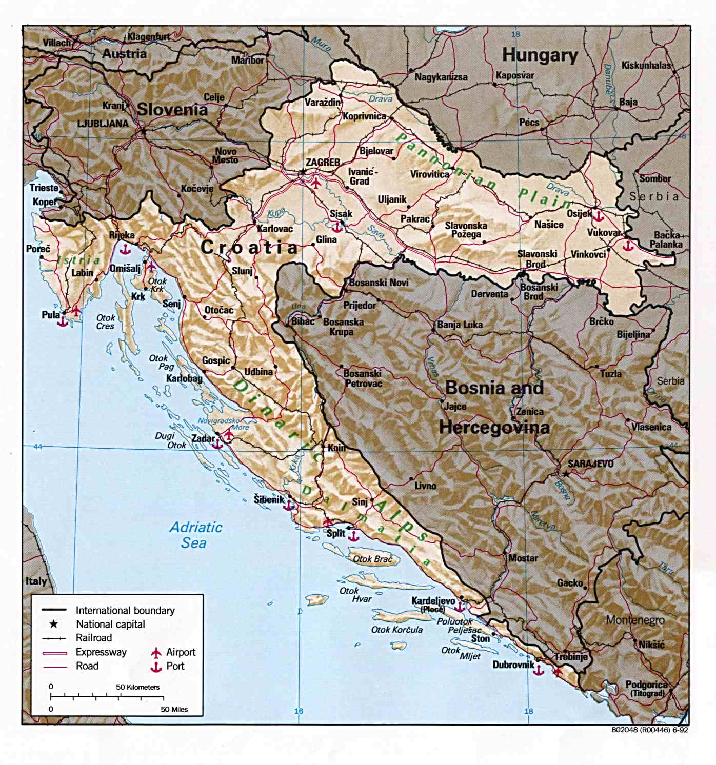 croatia map. Black Bedroom Furniture Sets. Home Design Ideas