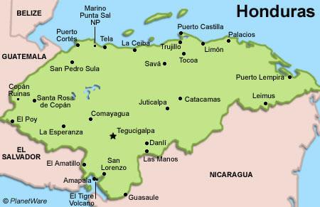 Honduras Departments Division Map - Departments map of guatemala