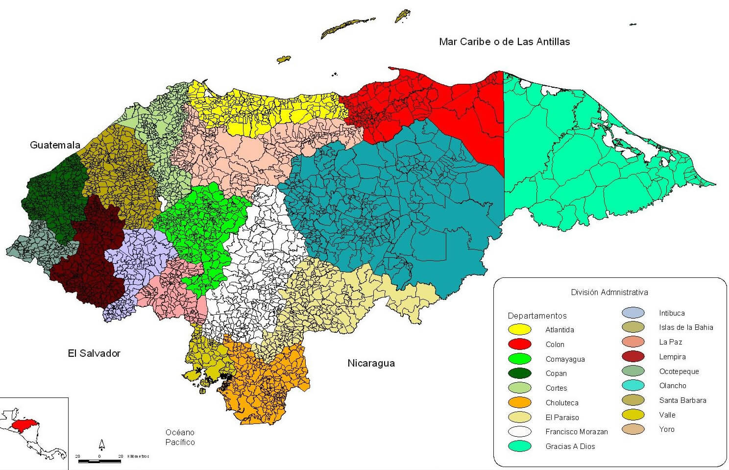 Honduras Largest Map - Honduras mineral map non metallic