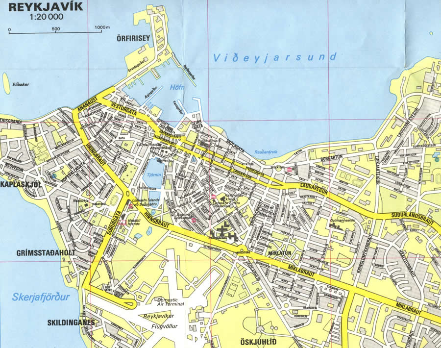 Street map Reykjavik Iceland