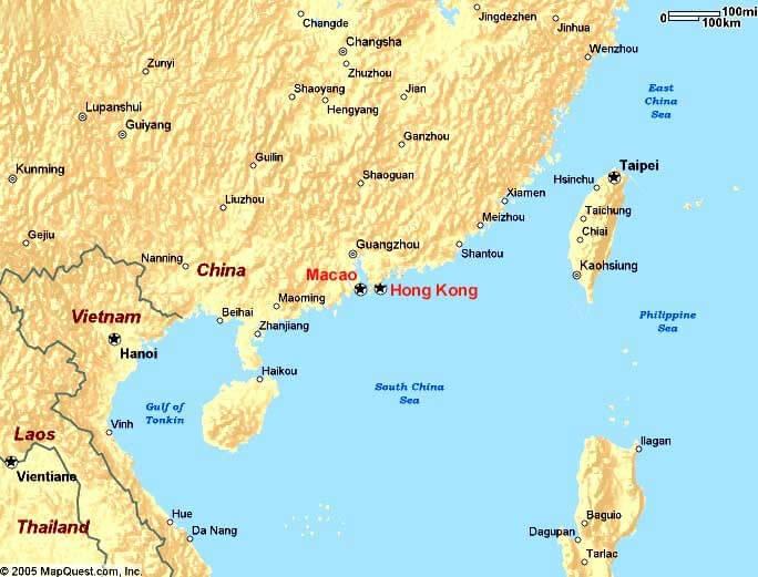 Macau Physical Map