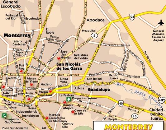 Map – Map Monterrey Mexico