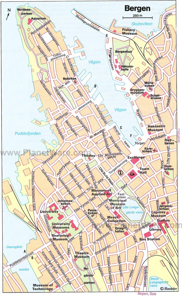 Bergen Map - Norway map hamar