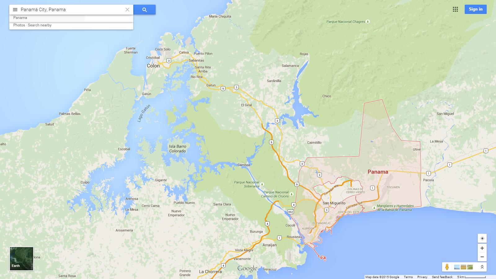 Panama City Map - Physical map of panama
