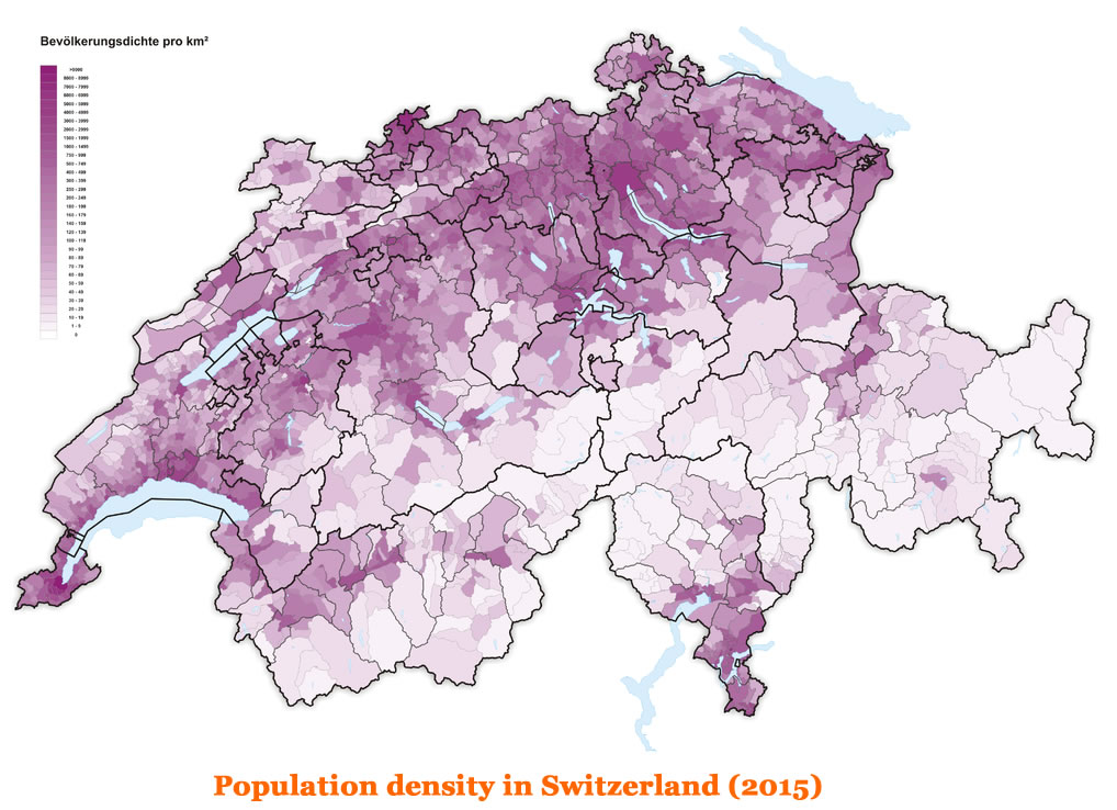 Density In Switzerland - Population density in switzerland 2015