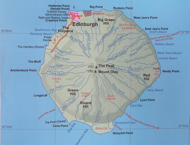 Tristan Da Cunha Map: Tristan Da Cunha Map At Slyspyder.com