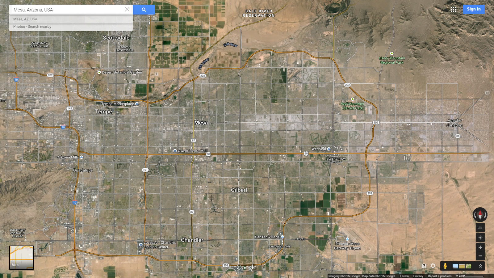 Satellite Map Of Arizona.Mesa Arizona Map