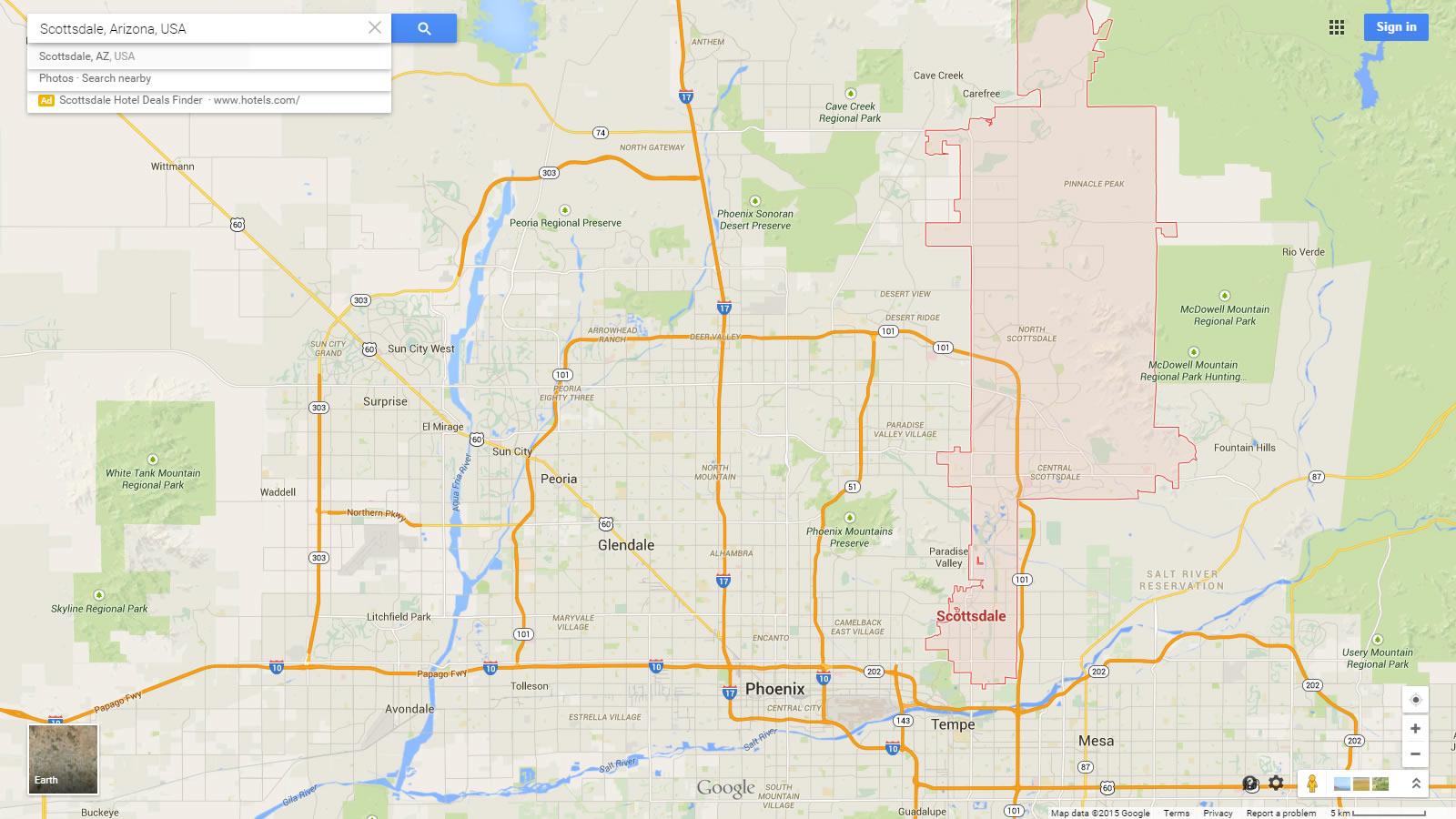 Map Of Arizona Scottsdale.Scottsdale Arizona Map