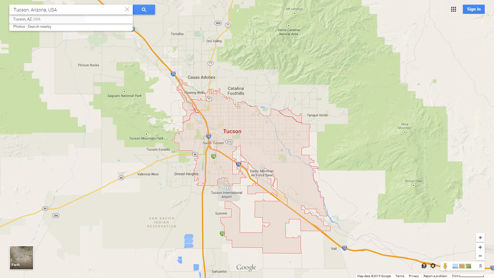 map of tucson tucson arizona map usa