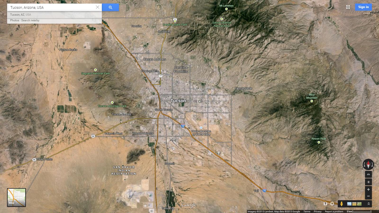 Satellite Map Of Arizona.Tucson Arizona Map