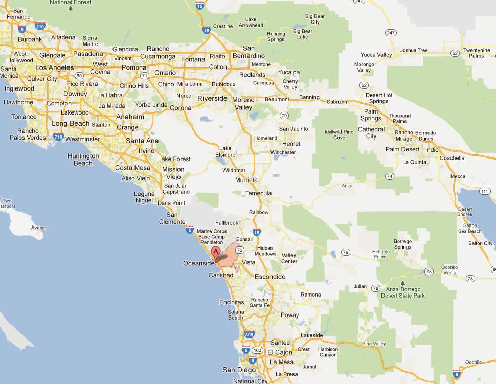Oceanside, California Map
