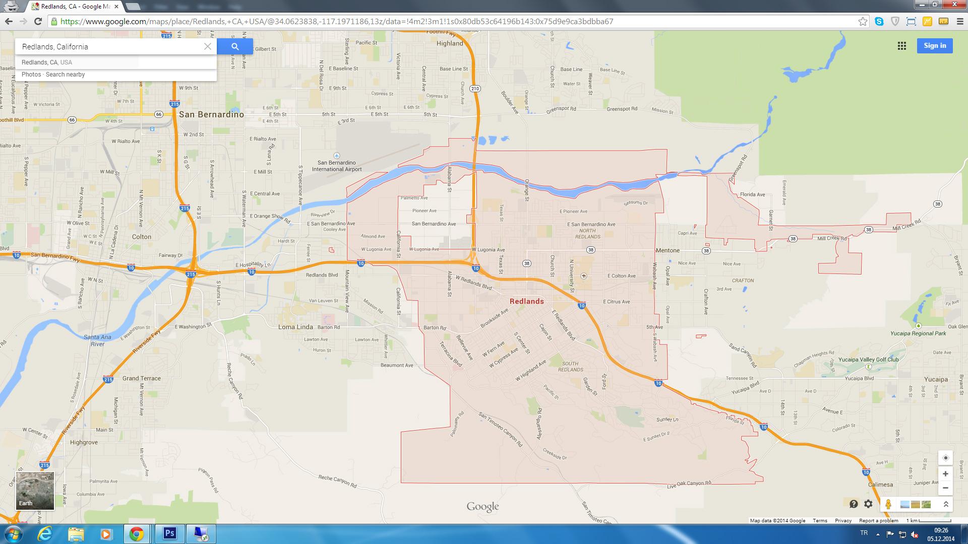 Redlands California Map