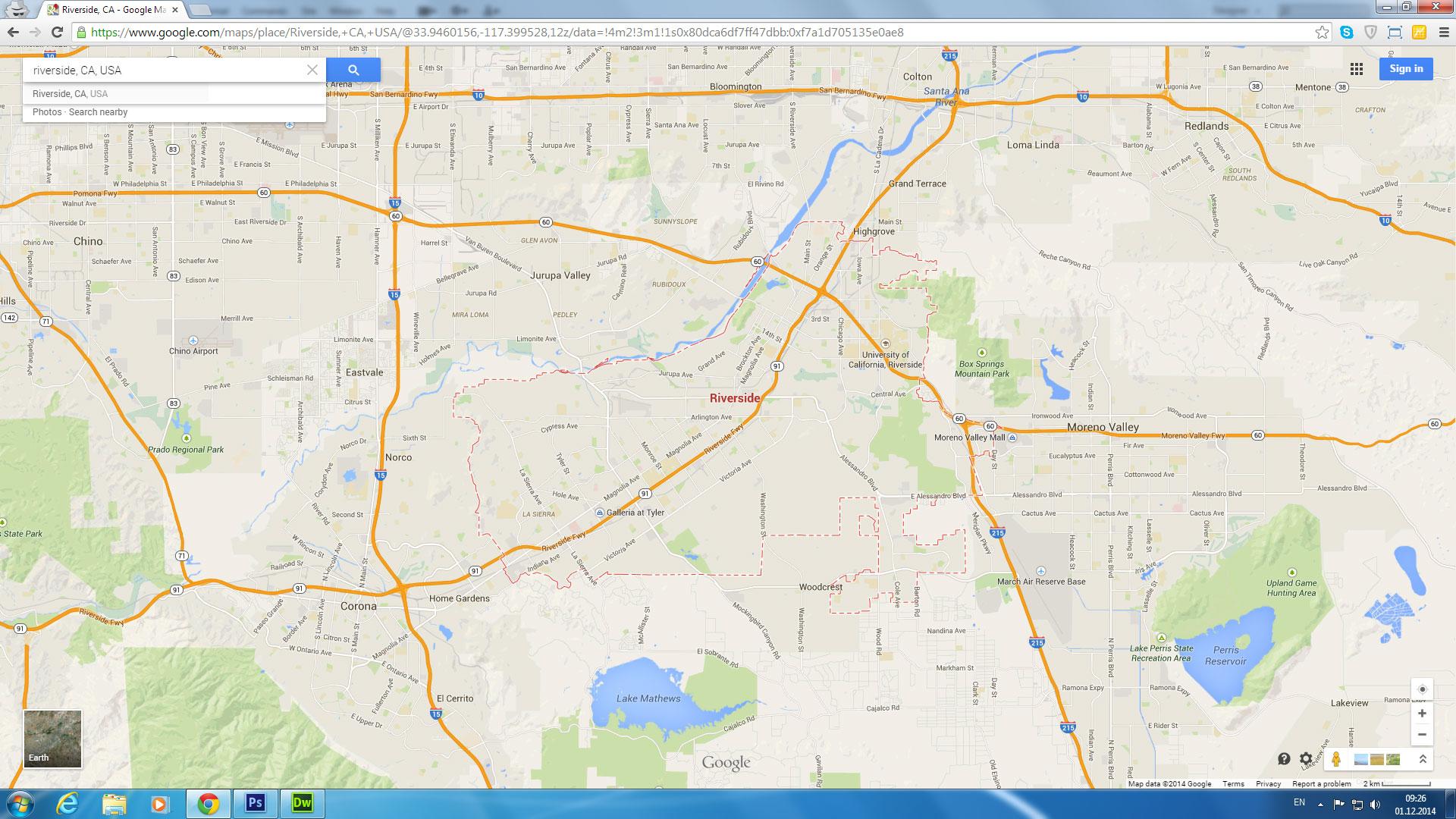 Riverside, California Map