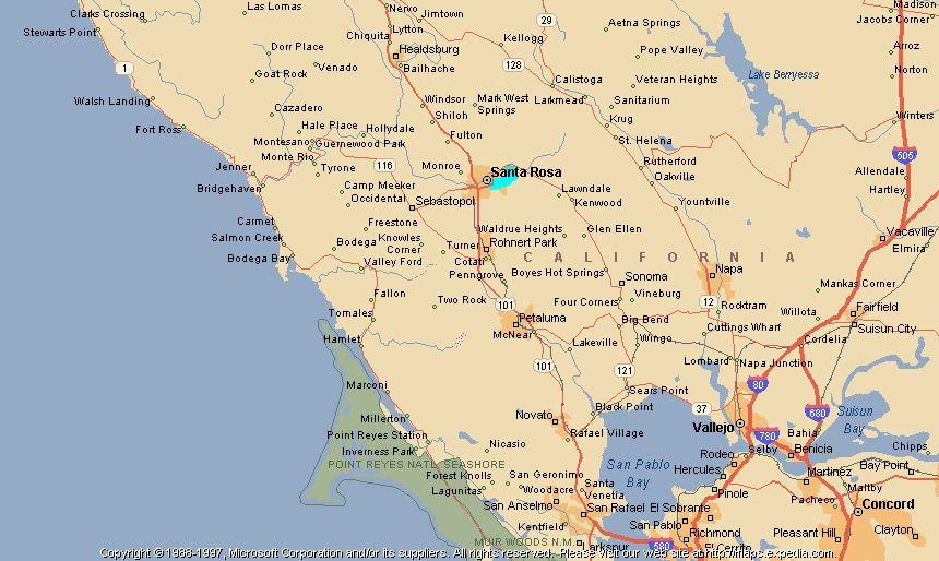 Santa Rosa California Map - California united states map