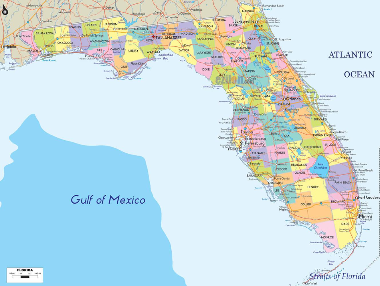 Florida Counties Road Map USA