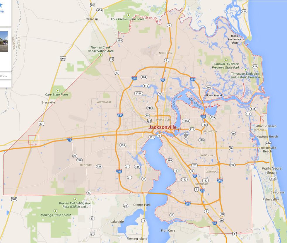 Florida Map Google Maps.Jacksonville Florida Map