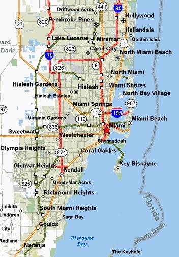 miami, florida map