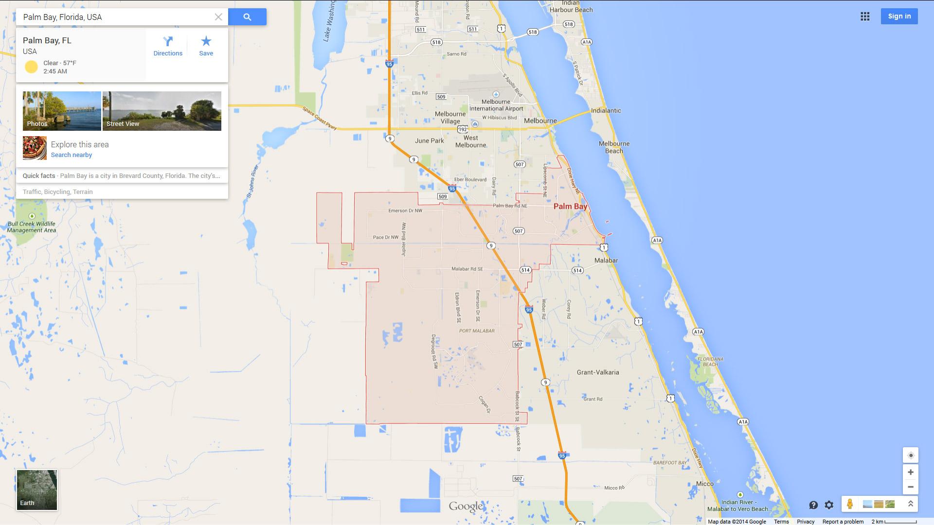 map of palm bay. palm bay florida map