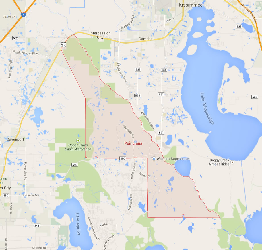 Poinciana Florida Map - Florida map miramar beach