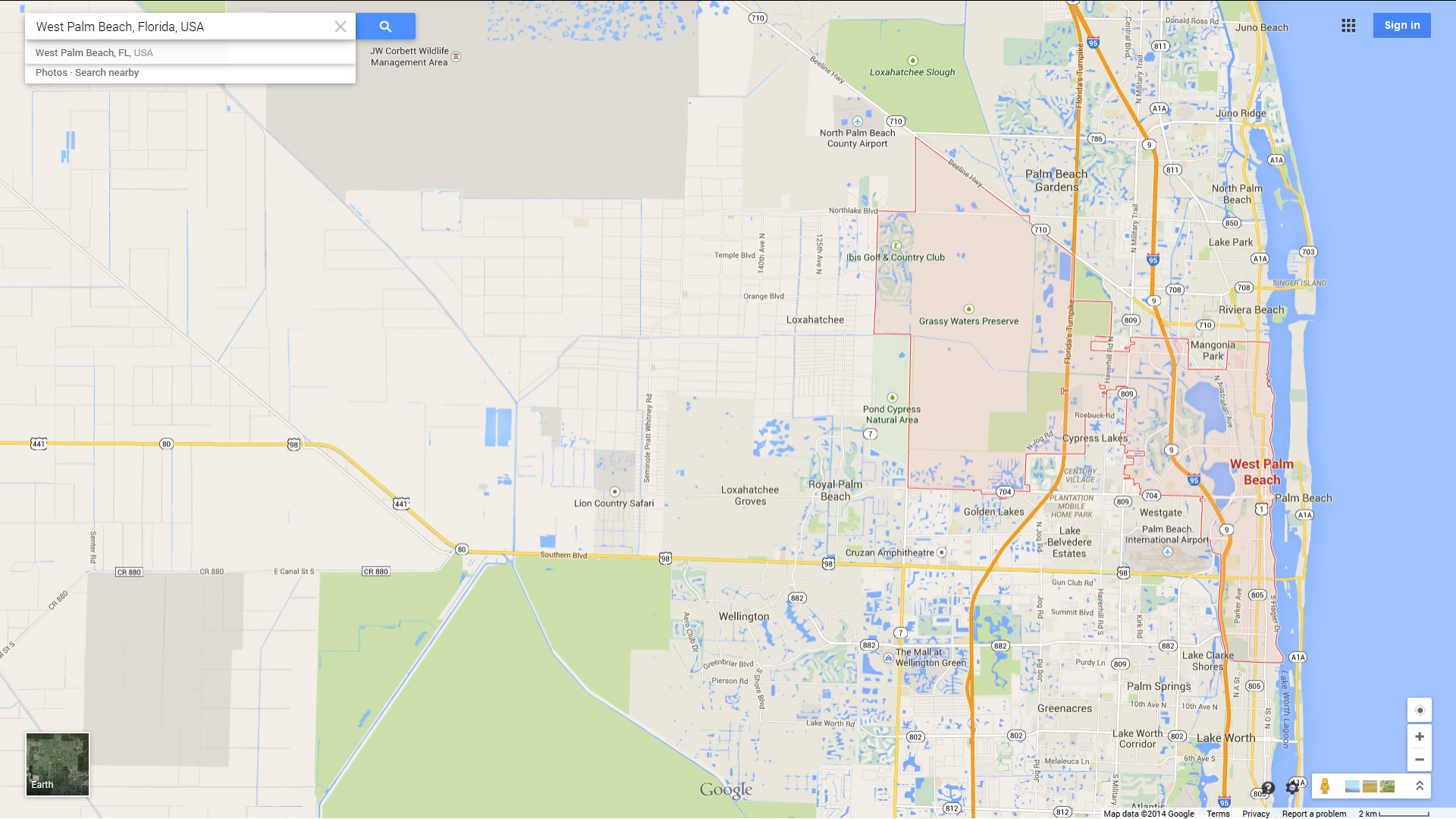 West Palm Beach Florida Map