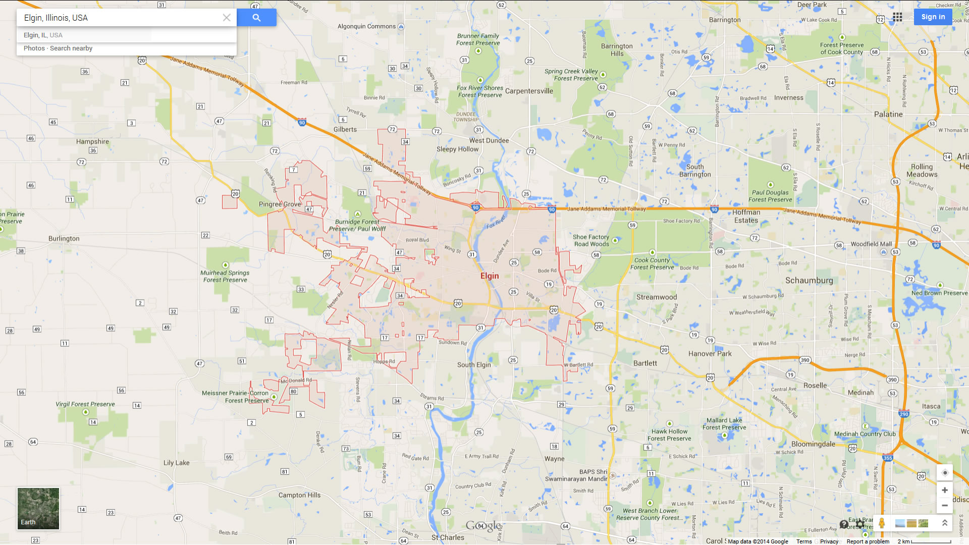 elgin illinois map
