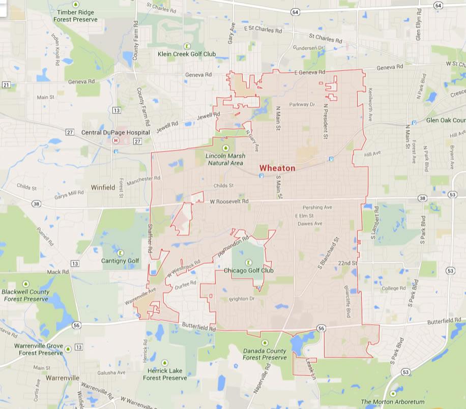 Wheaton, Illinois Map