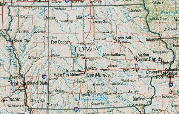 Iowa Map – Iowa Tourist Attractions Map