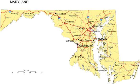Maryland County Map USA
