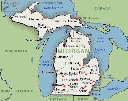 Cities of Michigan Map