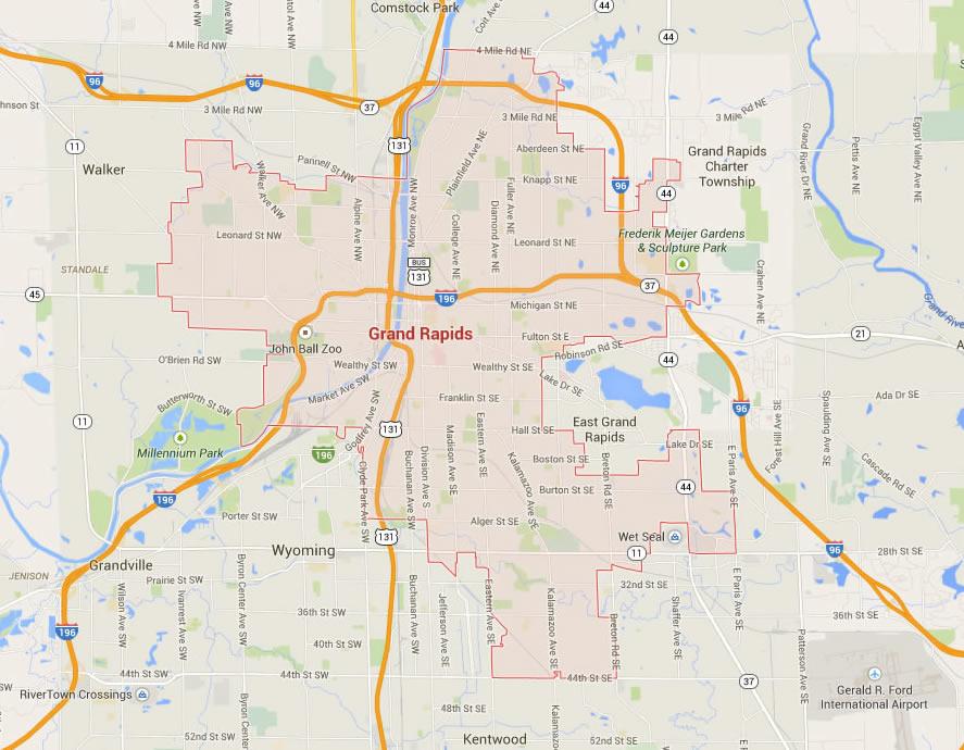 Grand Rapids Michigan Map United States