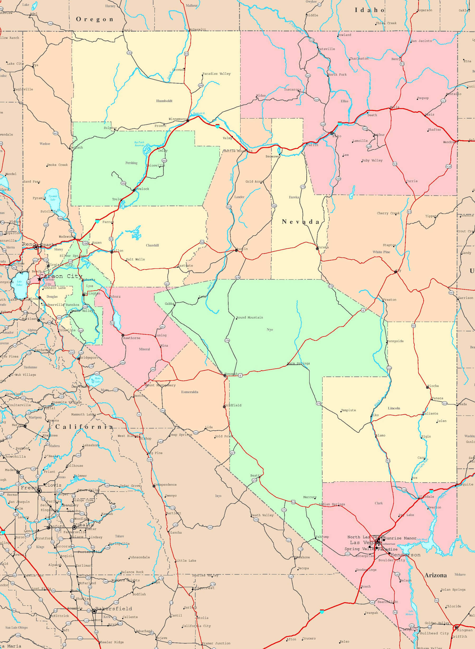 Map Nevada Volcanics - A map of nevada