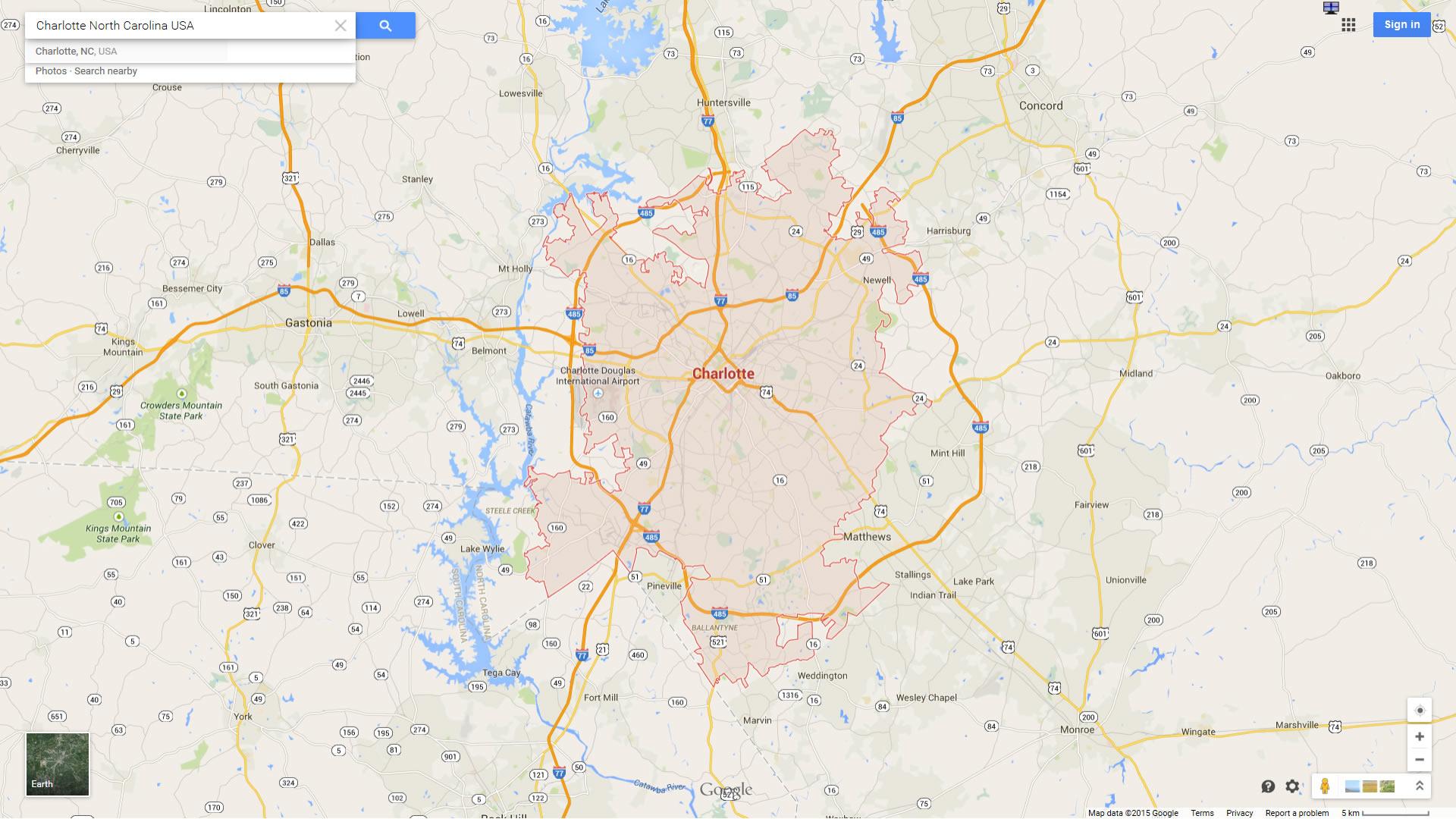 Charlotte North Carolina Map - Google maps charlotte usa