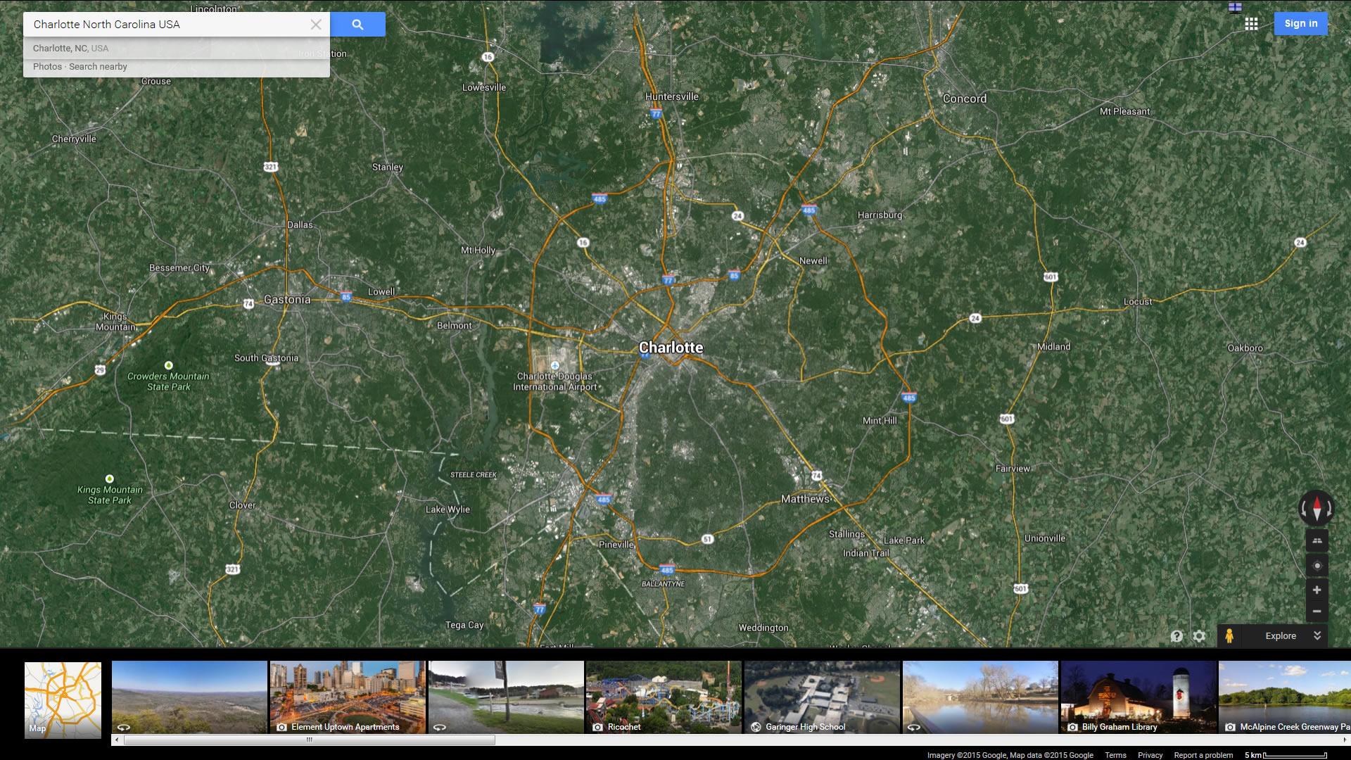 Charlotte North Carolina Map - Us-map-charlotte-nc
