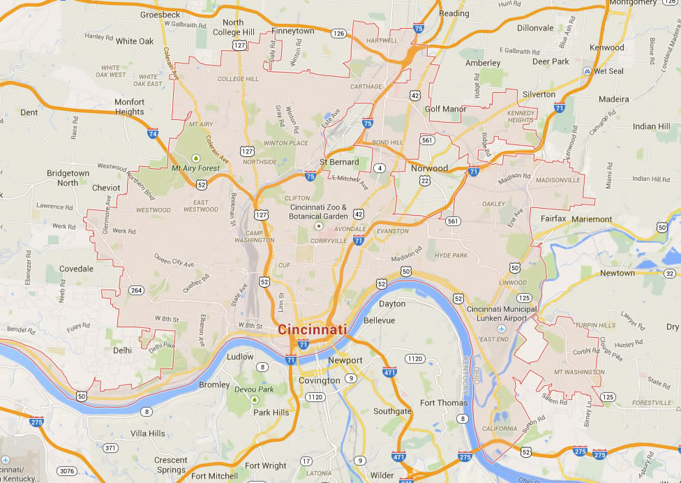 Cincinnati, Ohio Map