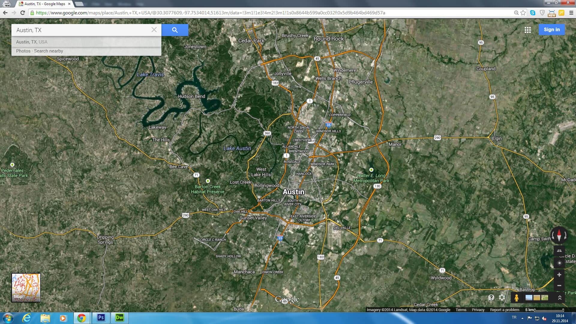 Austin Texas Map - Us map satellite