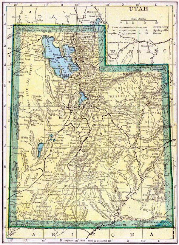 Utah map salt lake city utah historical map publicscrutiny Choice Image